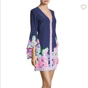 Lilly Pulitzer Rosalia Bell Sleeve Silk Dress